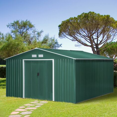 Outsunny 13x11ft Corrugated Steel Garden Storage Shed Tool Box w/ Sliding Doors Green