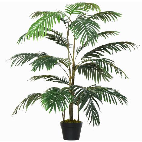 Outsunny 140cm Artificial Palm Tree Decorative Plant w/ Pot Indoor Outdoor Décor