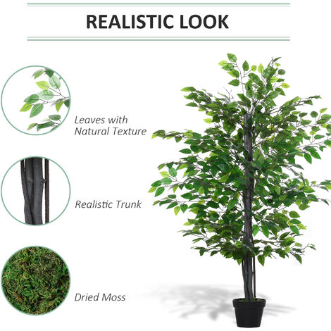 Outsunny 145cm Artificial Banyan Plant Faux Decor Tree w/ Pot Indoor Outdoor