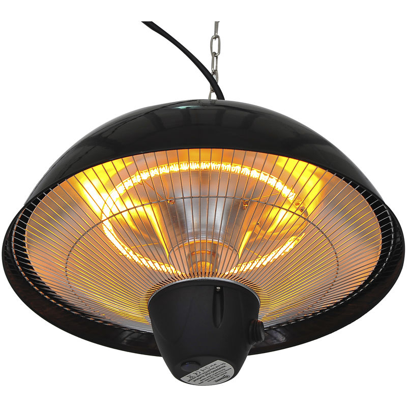 Outsunny 1500w Ceiling Mounted Electric Hanging Patio Heater Halogen Outdoor Heat Aluminum Garden Light With Remote Control