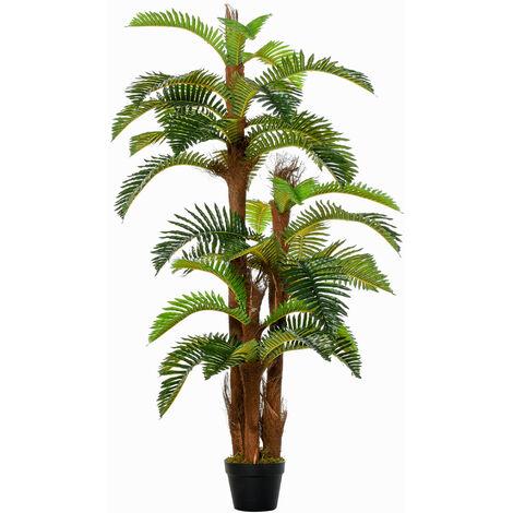 Outsunny 150cm Artificial Fern Tree Decorative Plant w/ Pot Indoor Outdoor Décor