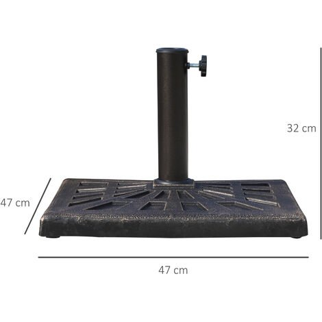 Outsunny 15kg Patterned Colophony Garden Patio Umbrella Square Stand Base - Bronze
