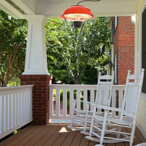 Outsunny 1.5KW Garden Electric Halogen Patio Heater Hanging Lamp Aluminium - Red