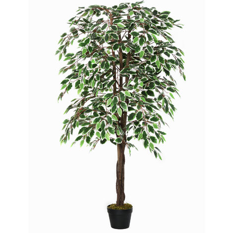 Outsunny 160cm Artificial Ficus Silk Tree Decorative Plant w/ Pot Indoor Outdoor Décor