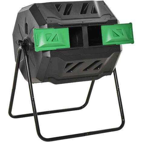 """main image of """"Outsunny 160L Two-Chamber Tumbling Compost Bin Outdoor Food Waste w/ Lid Black"""""""