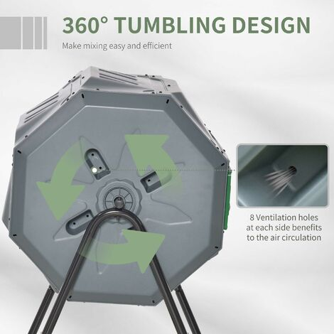 """main image of """"Outsunny 160L Two-Chamber Tumbling Compost Bin Outdoor Food Waste w/ Lid Grey"""""""