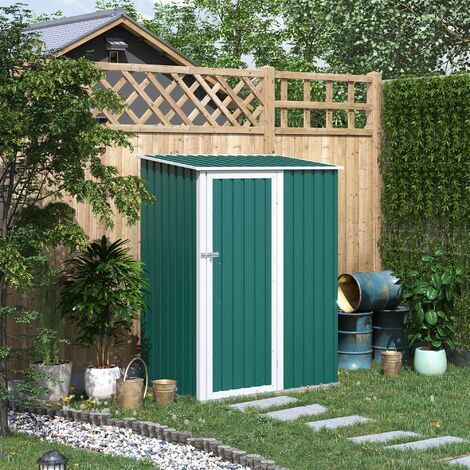 Outsunny 186x143cm Corrugated Steel Garden Shed Equipment Storage Roof Green