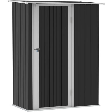 Outsunny 186x143cm Corrugated Steel Garden Shed Outdoor Storage Sloped Roof Grey