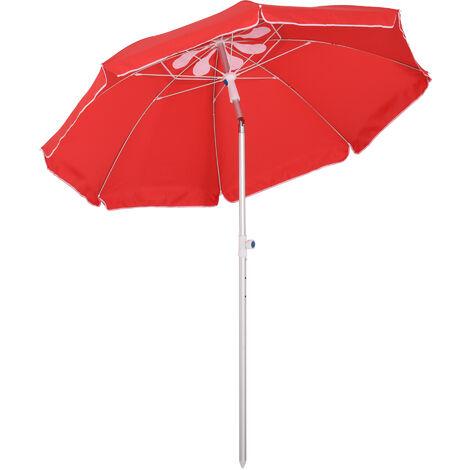 Outsunny 1.9m Beach Umbrella Outdoor Sun Shade w/ Angle Tilt Carry Bag Red