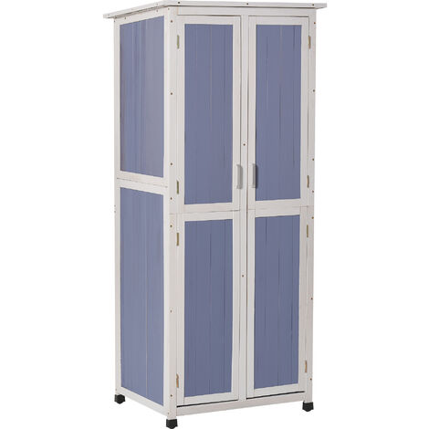Outsunny 1.9x2.5ft Wooden Garden Shed Cabinet w/ Shelves Locking Door Blue