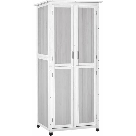 Outsunny 1.9x2.5ft Wooden Garden Shed Cabinet w/ Shelves Locking Door Grey
