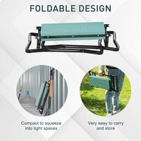 Outsunny 2-in-1 Garden Seat Kneeling Pad Support Bench Foldable Knee Protector - Green