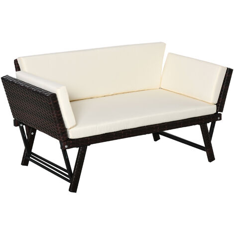 Outsunny 2-In-1 Rattan Soaf Bed 2-Seater w/ Padded Seat Steel Frame Cream White