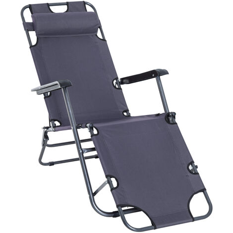 Outsunny 2 in 1 Sun Lounger Folding Reclining Chair Garden Camping Chair - Grey