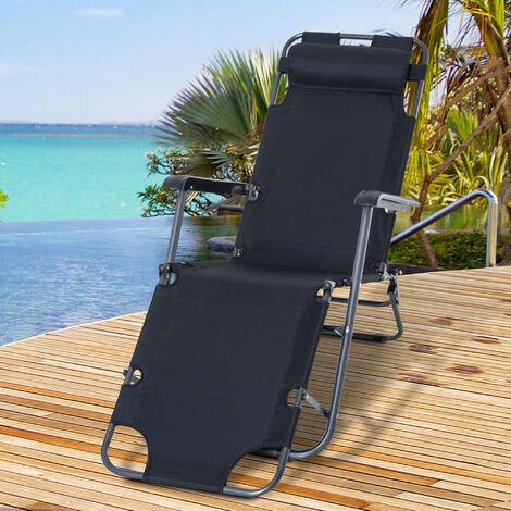 Outsunny 2-Level Adjustable Recliner Sun Lounger w/ Metal Frame Pillow Portable Black