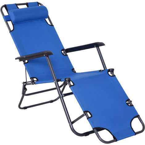 Outsunny 2-Level Adjustable Recliner Sun Lounger w/ Metal Frame Pillow Portable Blue