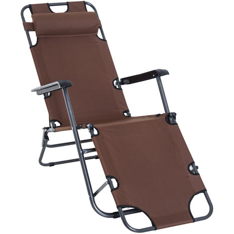 Outsunny 2-Level Adjustable Recliner Sun Lounger w/ Metal Frame Pillow Portable Brown