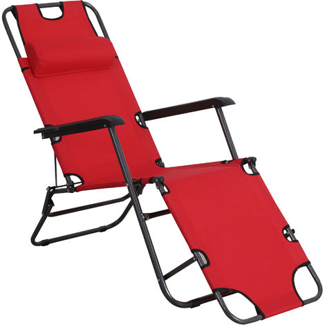 Outsunny 2-Level Adjustable Recliner Sun Lounger w/ Metal Frame Pillow Portable Red