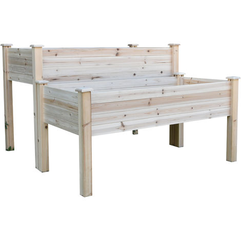 Outsunny 2-Level Wooden Flower Bed Planter Raised w/ Legs Vegetable Grow Box