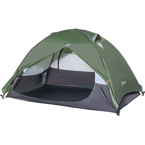 Outsunny 2 Man Camping Tent w/ 2 Doors Mesh Windows Carry Bag Outdoor Hiking