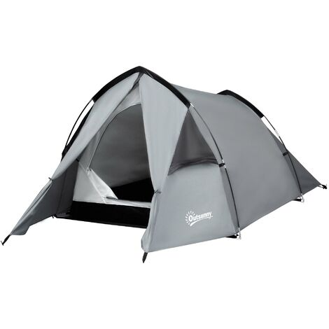 Outsunny 2 Man Camping Tent w/ Porch Mesh Windows Vents Hiking Festivals