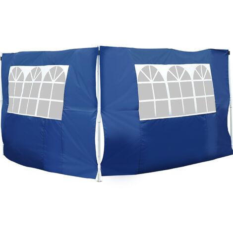 Outsunny 2 Paredes Parte Laterales para Carpa Tela Oxford Apto para 3x3 3x6 Azul - azul