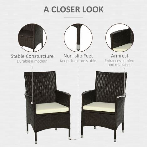 Outsunny 2 PC Outdoor Rattan Dining Chair w/ Armrests Cushions (Deep Coffee)
