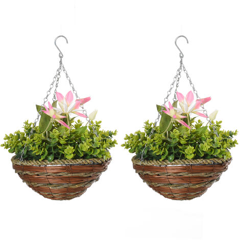 Outsunny 2 PCs Artificial Clematis Flower Hanging Planter Basket Home Garden