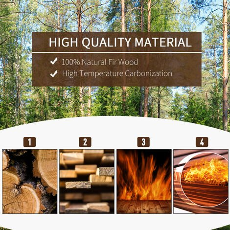 Outsunny 2 Pcs Wooden Planter Flower Barrels Grow Display Box Outdoor Indoor