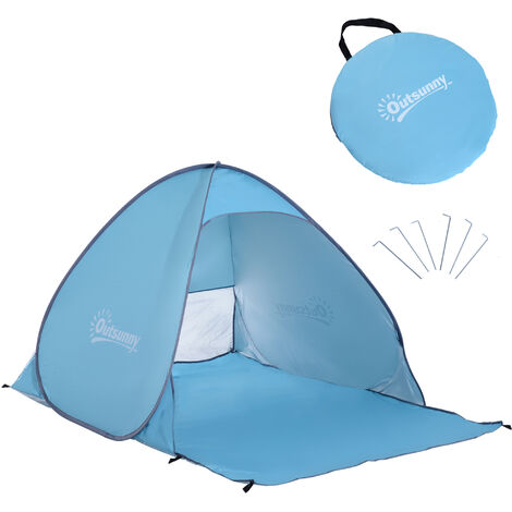 Outsunny 2 Person Pop up Beach Tent Hiking UV Protection Patio Sun Shade Shelter - Blue