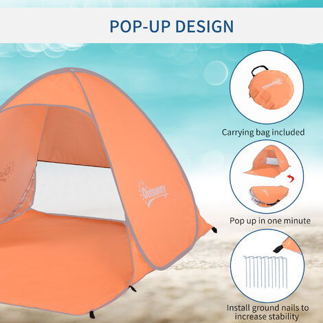 Outsunny 2 Person Pop up Beach Tent Hiking UV Protection Patio Sun Shade Shelter - Orange