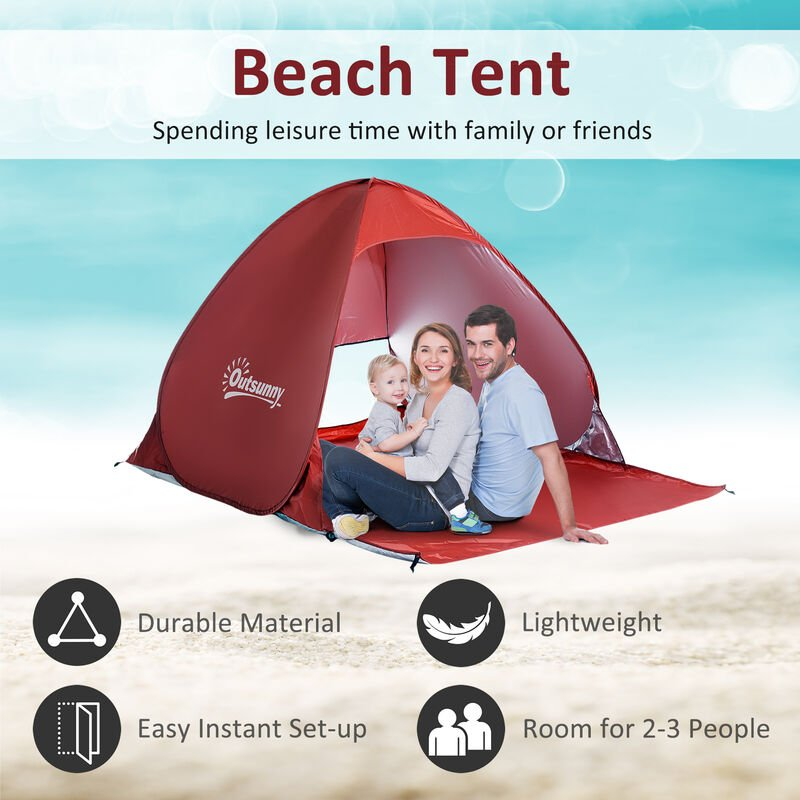 Outsunny 2 Person Pop up Beach Tent Hiking UV Protection Patio Sun Shade Shelter
