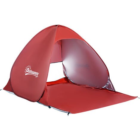 Outsunny 2 Person Pop up Beach Tent Hiking UV Protection Patio Sun Shade Shelter - Red