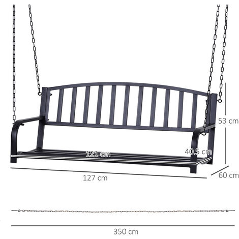 Outsunny 2-Person Swinging Metal Bench Seat Weather-Resistant Outdoor Black