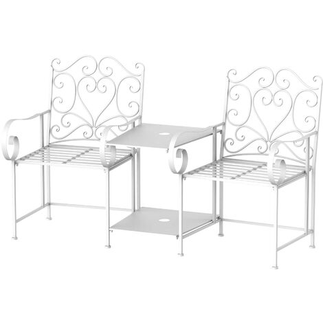"""main image of """"Outsunny 2 Seat Metal Chair Table Bench Outdoor Garden Patio Parasol Holder"""""""