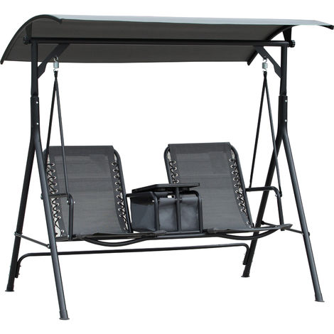 Outsunny 2-Seat Swing Chair Middle Table Steel Frame Adjustable Canopy Grey