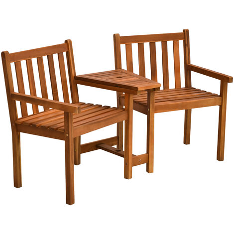 Outsunny 2 Seat Wood Double Chair w/ Middle Table Slatted Bench Garden Seat