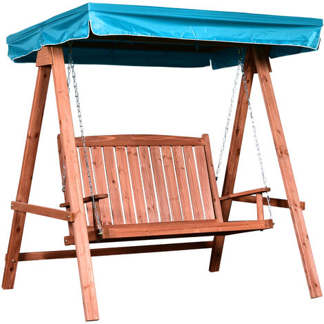 Outsunny 2-Seat Wooden Swing Chair Garden Outdoor Seat w/ Hammock Blue