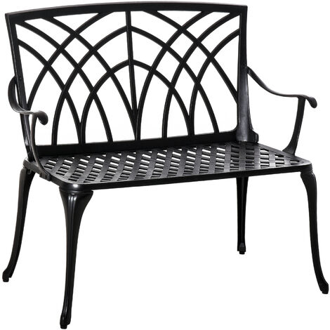 Outsunny 2-Seater Aluminium Garden Bench Decorative Loveseat Ergonomic Armrest