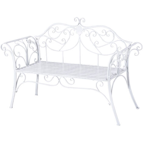 Outsunny 2 Seater Garden Bench Antique Backyard Decorative Cast Iron Backrest