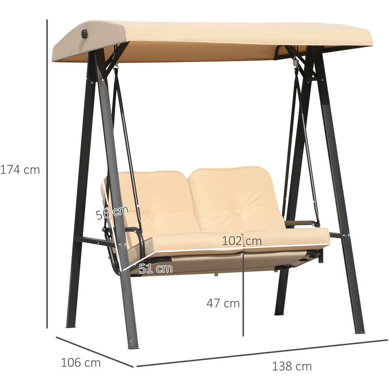 Outsunny 2 Seater Garden Swing Chair