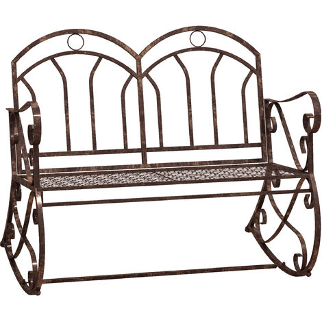 """main image of """"Outsunny 2 Seater Metal Garden Park Swing Bench Rocking Chair Loving Seat Bronze"""""""