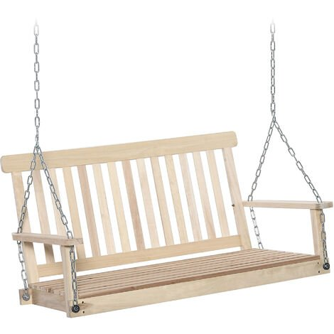 Outsunny 2-Seater Porch Wooden Swing Chair Garden Bench w/ Chains Outdoor Style