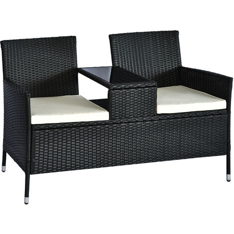 Outsunny 2 Seater Rattan Companion Chair Wicker Loveseat with Drink Table - Black