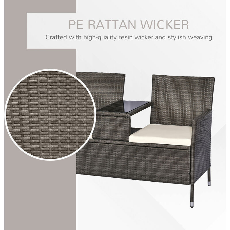 Magnificent Outsunny 2 Seater Rattan Companion Chair Wicker Loveseat With Drink Table Grey Ocoug Best Dining Table And Chair Ideas Images Ocougorg