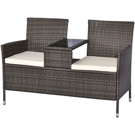 Outsunny 2 Seater Rattan Companion Chair Wicker Loveseat with Drink Table - Grey