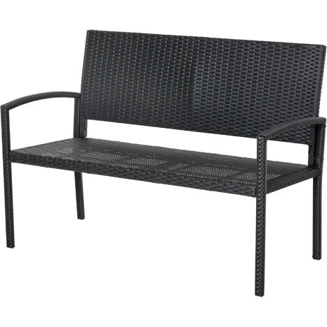 Outsunny 2 Seater Rattan Garden Bench Wicker Weave Love Seater Armchair Furniture