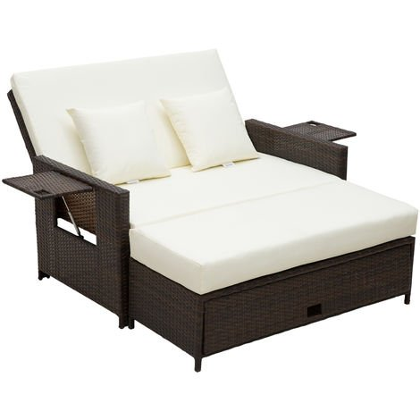 Outsunny 2 Seater Sofa Sun Lounger Rattan Daybed Love Sunbed