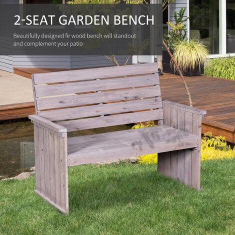 Outsunny 2-Seater Wooden Garden Bench Garden Outdoor Furniture Washed Grey