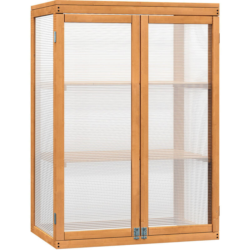 Outsunny 2 Shelves Wooden Cold Frame Grow House Greenhouse